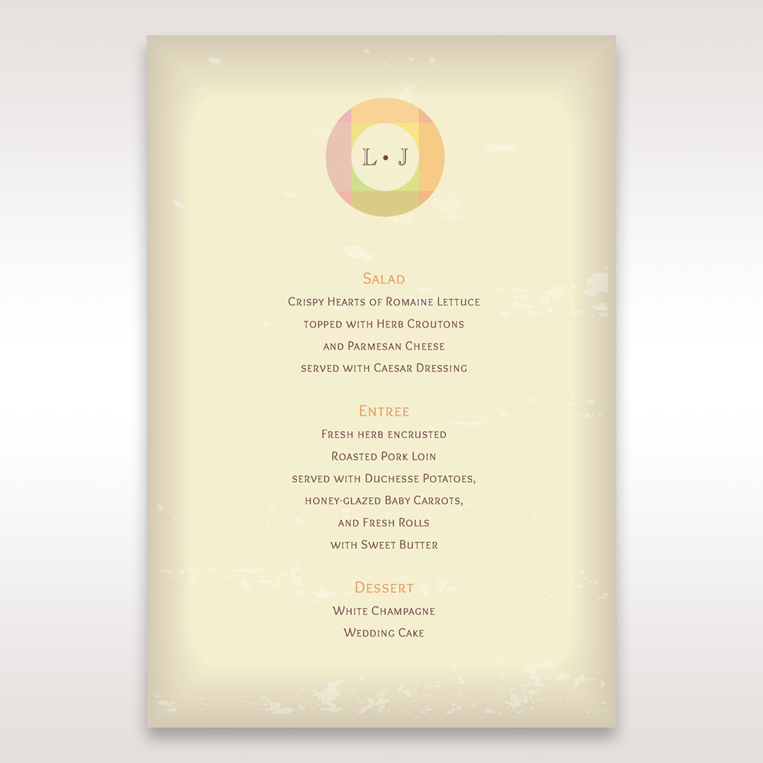 Orange Faded Modern Retro - Menu Cards - Wedding Stationery - 11