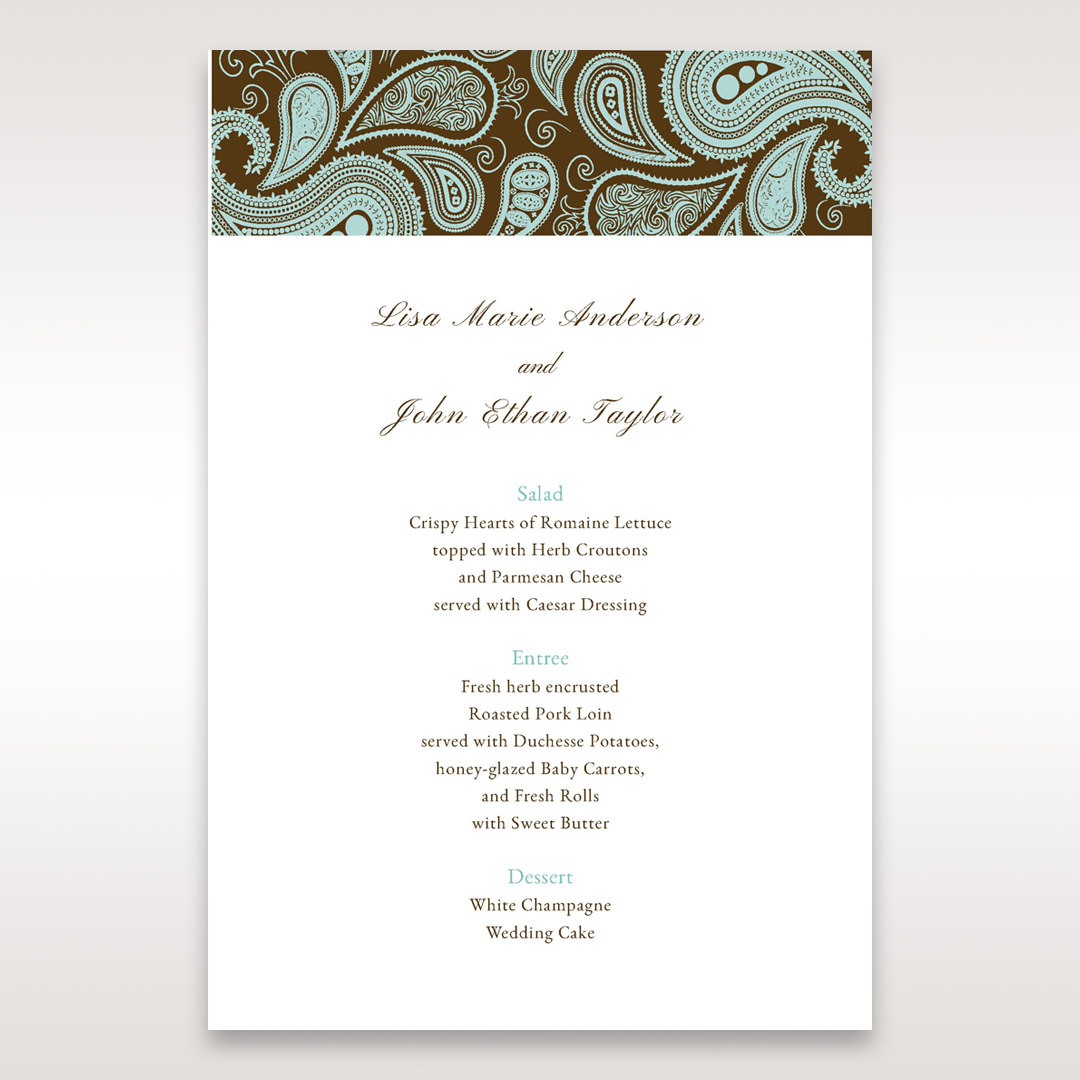 Blue Vintage Swirls - Menu Cards - Wedding Stationery - 3