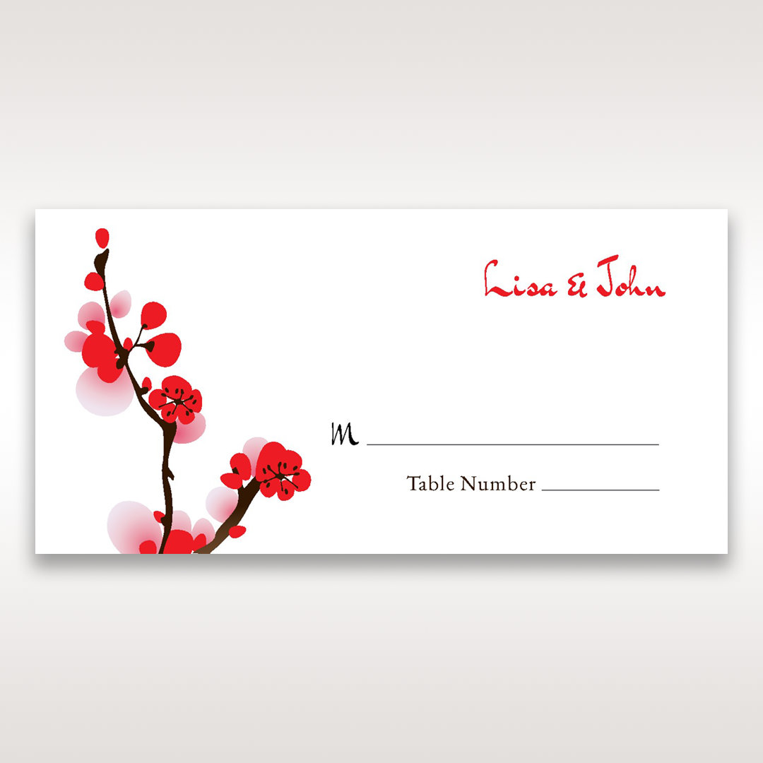 Red Plum Blossoms - Place Cards - Wedding Stationery - 77