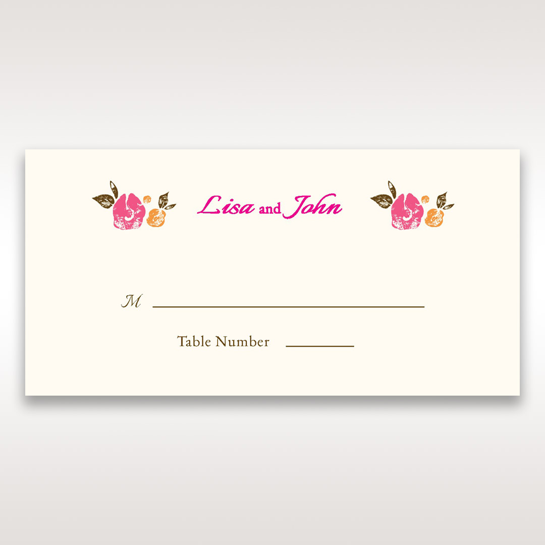 Red Flowers & Gemstones - Place Cards - Wedding Stationery - 63