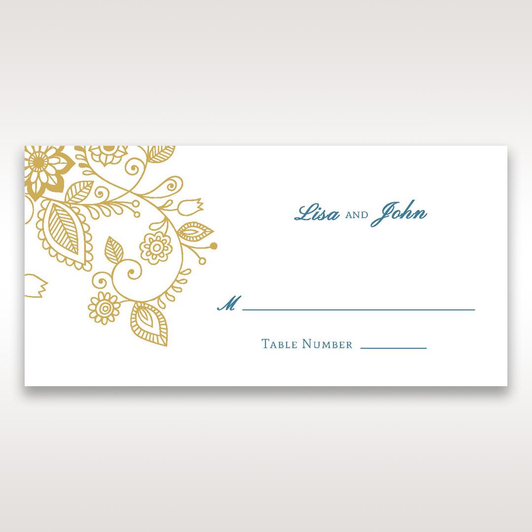 Yellow/Gold Splendid Golden Swirls - Place Cards - Wedding Stationery - 92