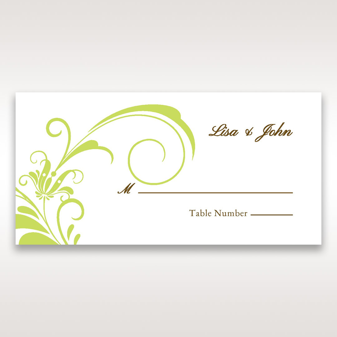 Green Place cards Sophisticataed Vintage Swirls - Place Cards - Wedding Stationery - 72