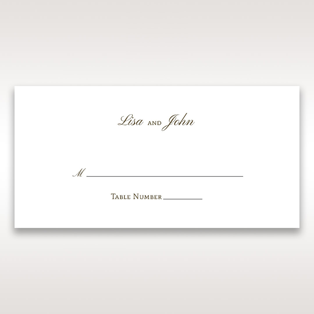 Brown Embossed Classic Couture, Gold - Place Cards - Wedding Stationery - 78