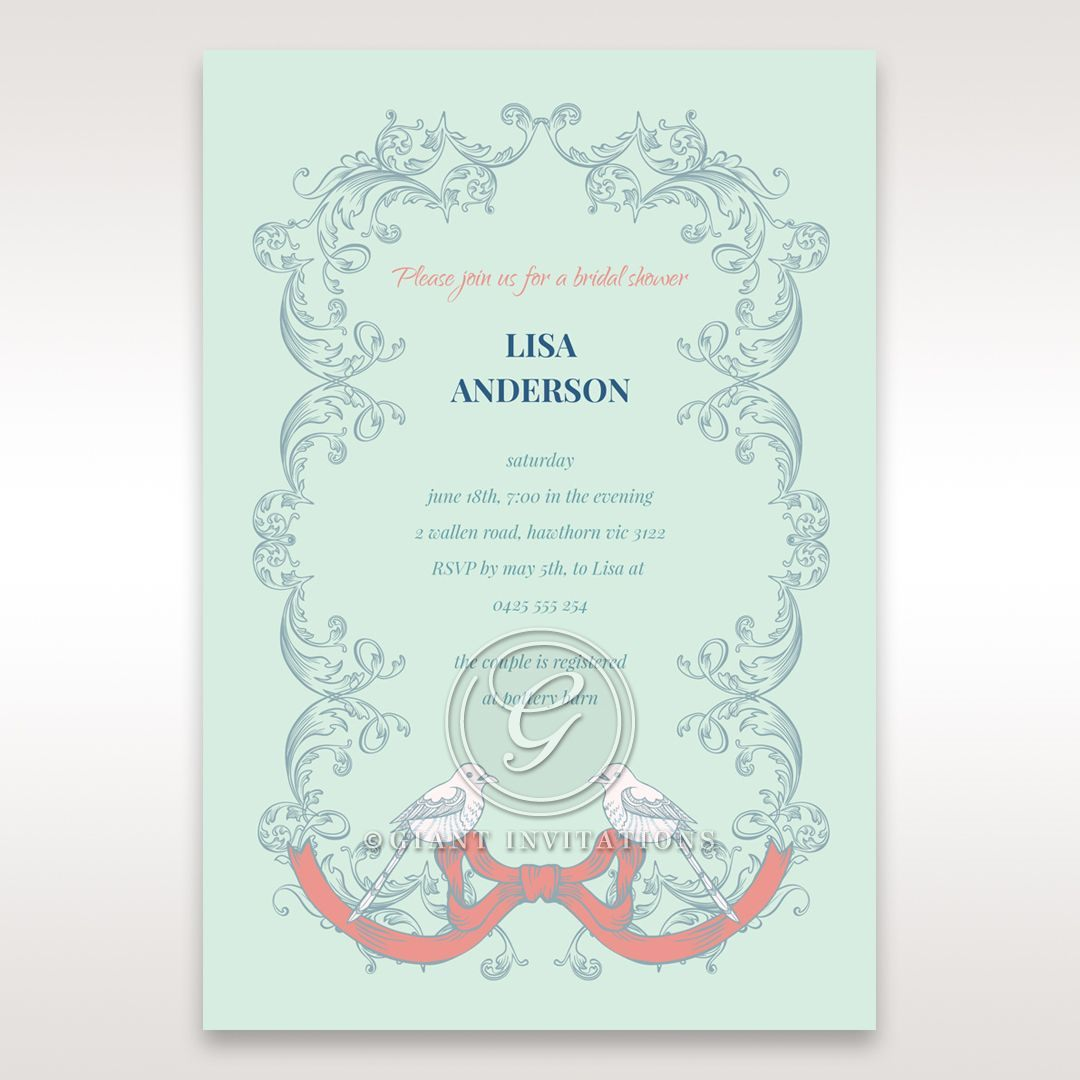 Green Two Turtle Doves - Bridal Shower Invitations - 17