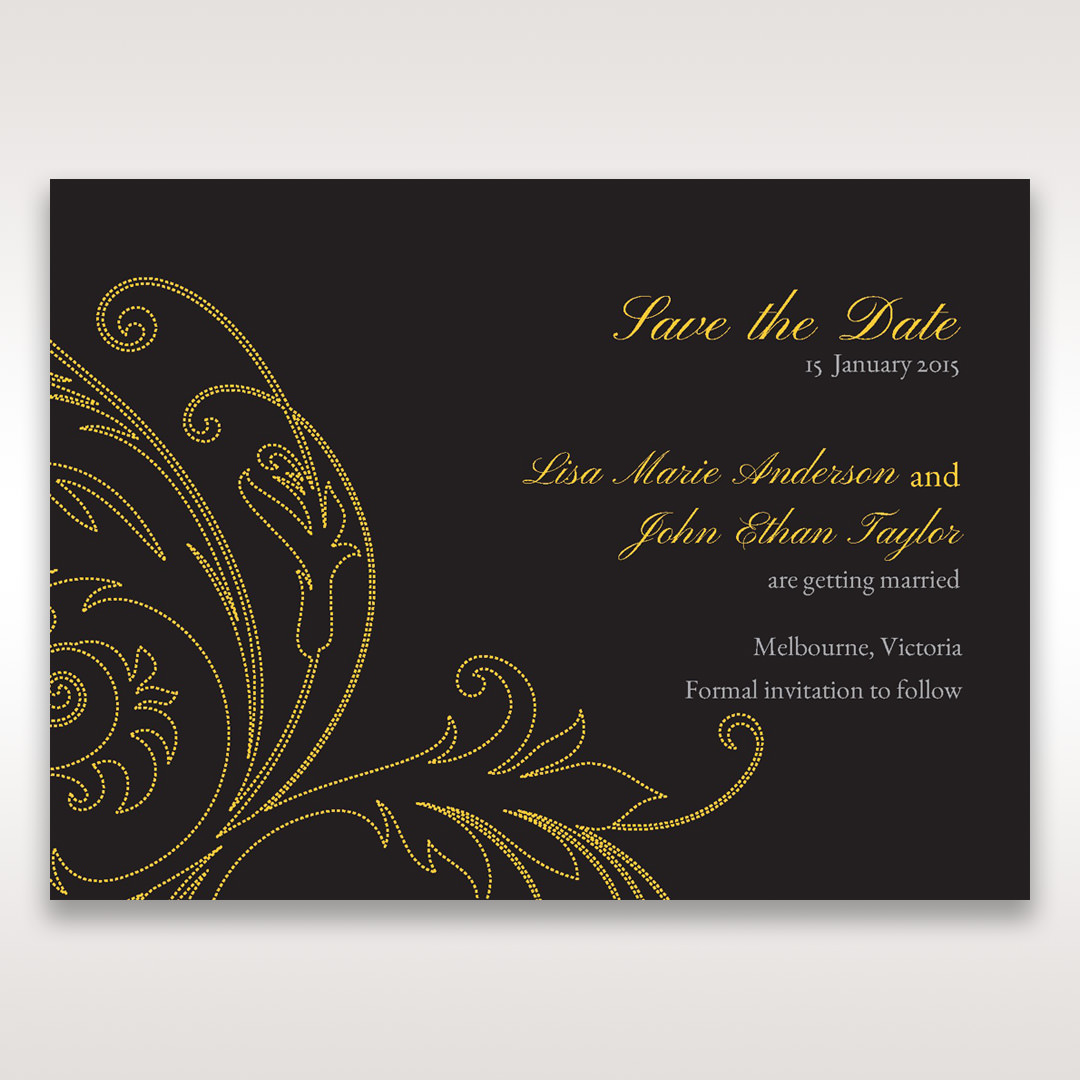 Black Urban Chic with Gold Swirls - Save the Date - Wedding Stationery - 73