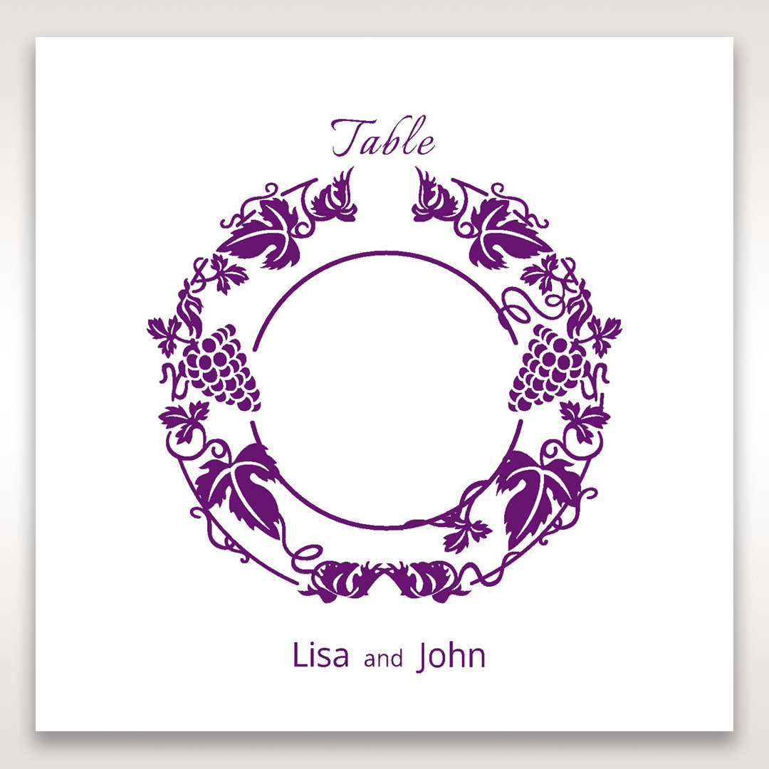 Purple Royal Purple Winery - Table Number Cards - Wedding Stationery - 48