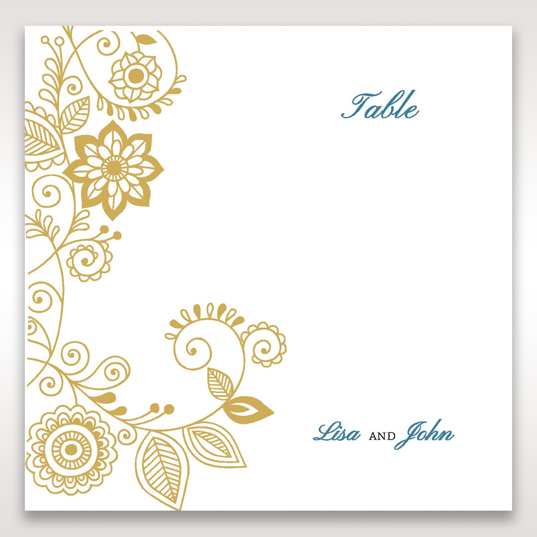 Yellow/Gold Splendid Golden Swirls - Table Number Cards - Wedding Stationery - 86