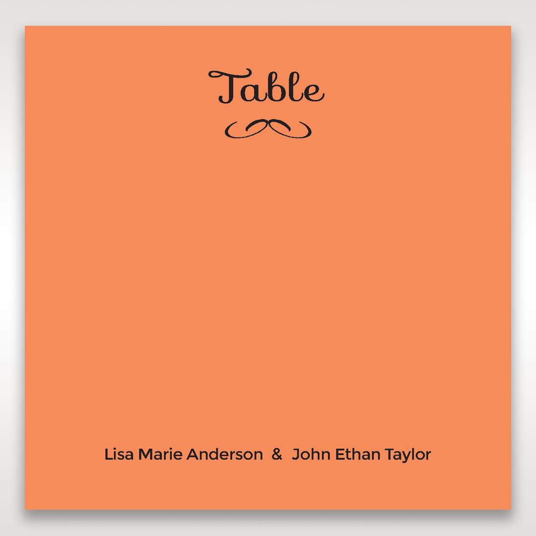 Orange Laser Peacock Laser Cut Pocket With Foil - Table Number Cards - Wedding Stationery - 23