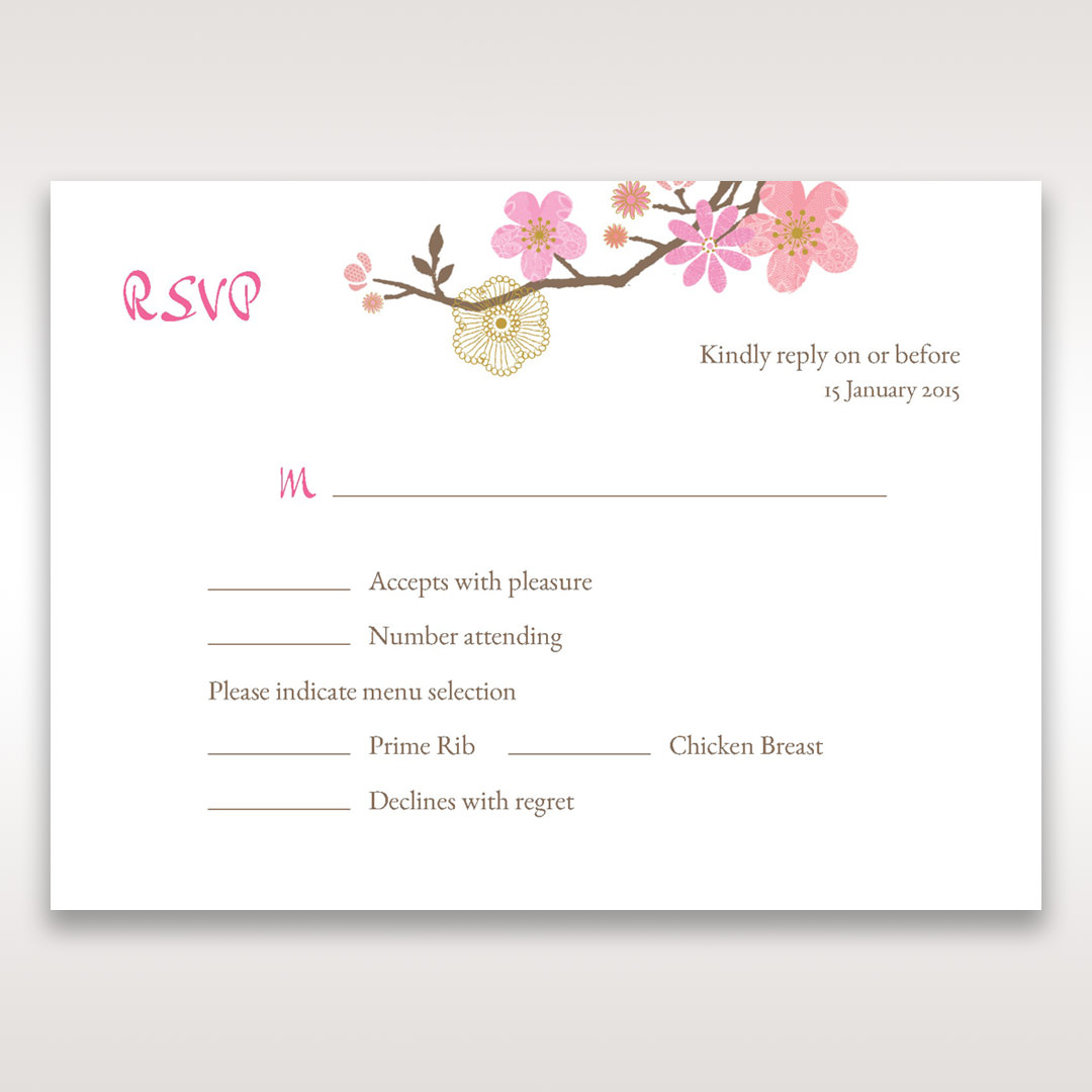 Pink Warm & Mellow Spring - RSVP Cards - Wedding Stationery - 82