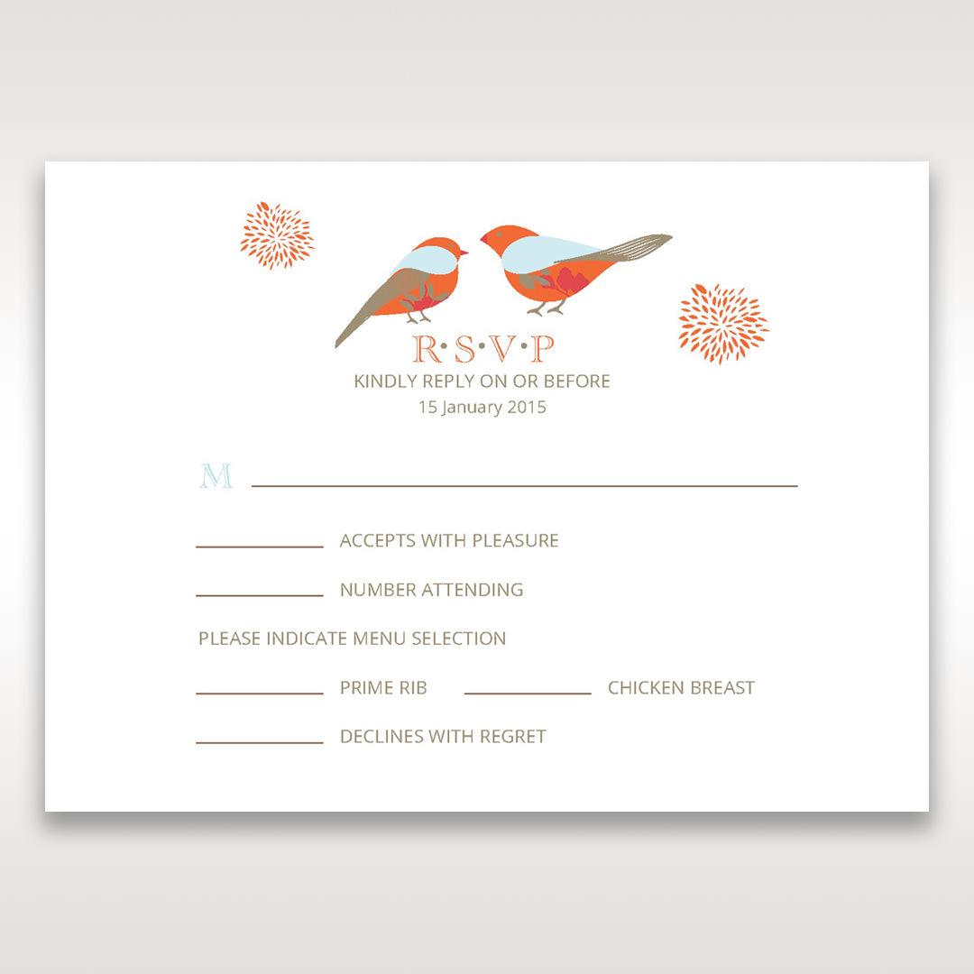 Red Love Birds - RSVP Cards - Wedding Stationery - 27