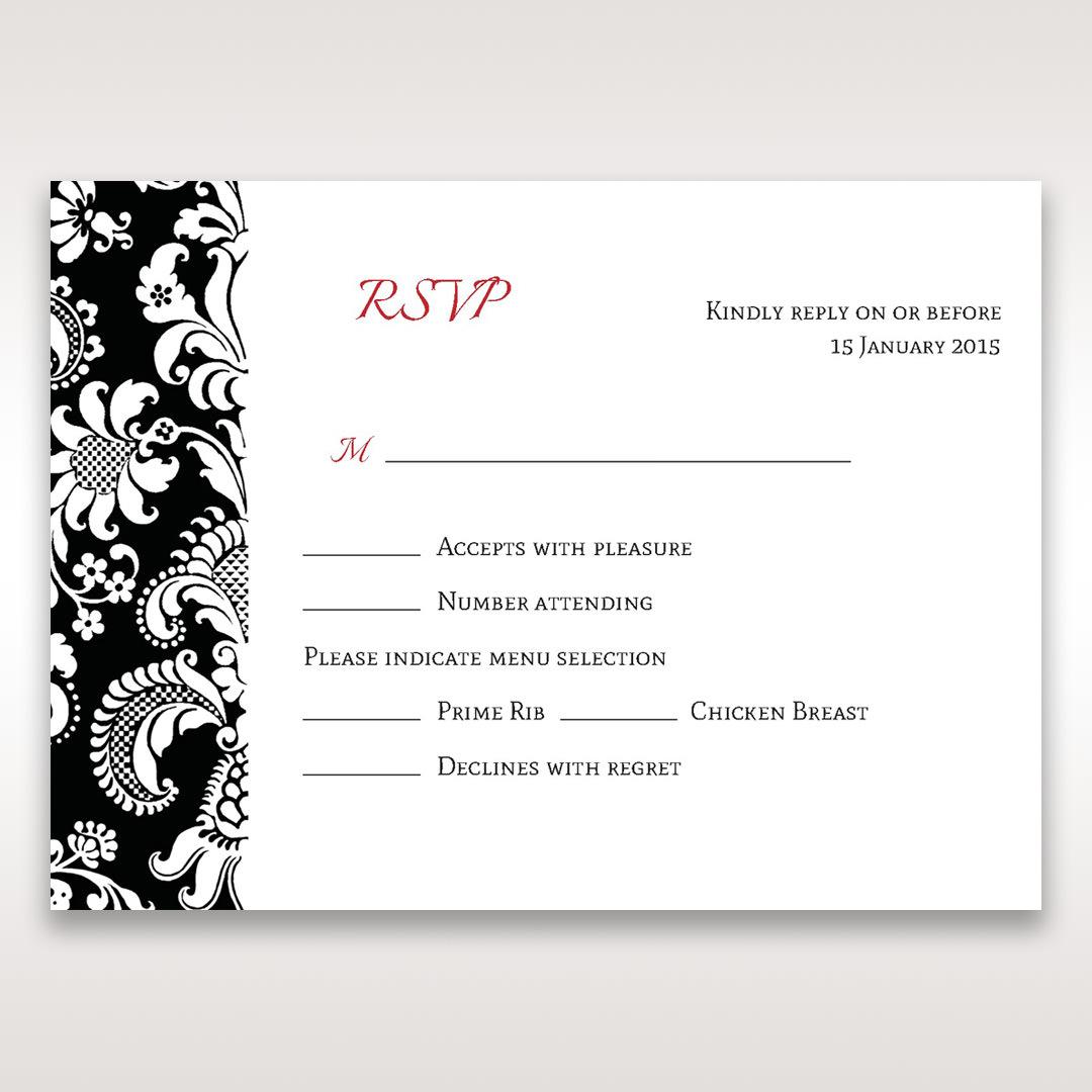 Black Majestic - RSVP Cards - Wedding Stationery - 25