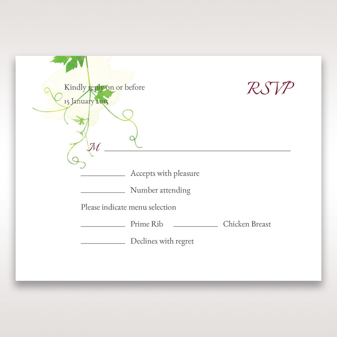 Green Natural Ivy - RSVP Cards - Wedding Stationery - 33