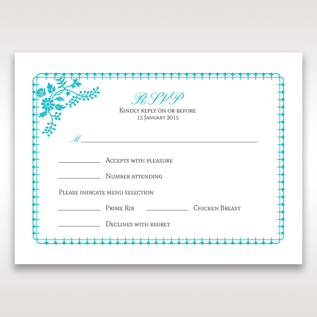 Blue Romantic Modern Floral - RSVP Cards - Wedding Stationery - 51