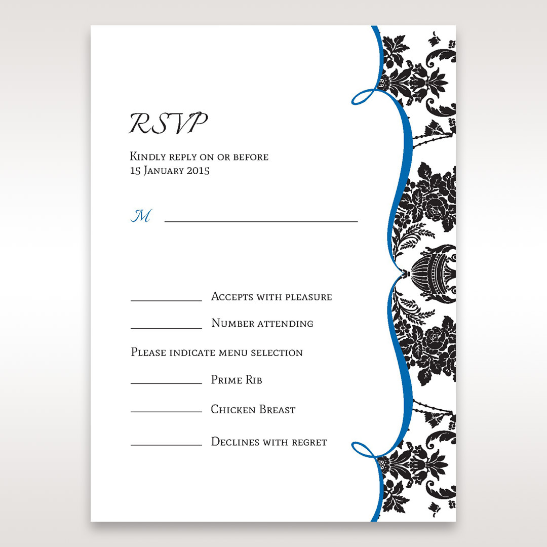 Black Black Grandeur - RSVP Cards - Wedding Stationery - 39