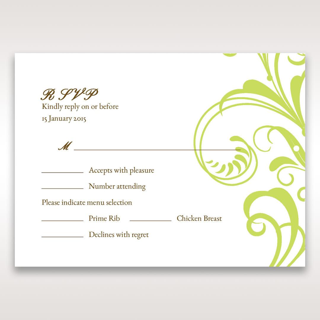 Green Sophisticataed Vintage Swirls - RSVP Cards - Wedding Stationery - 94