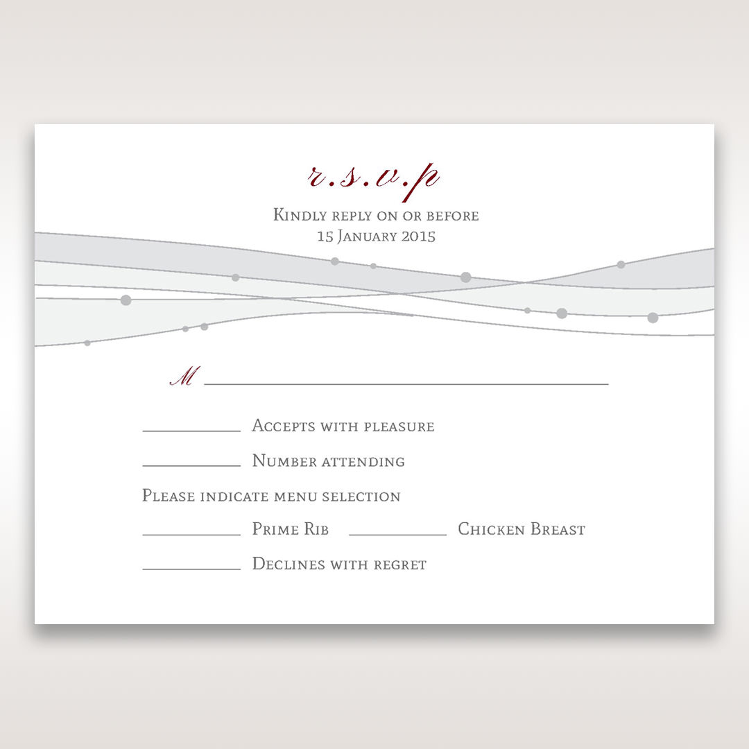 Pink Urban Couture with Jewels - RSVP Cards - Wedding Stationery - 54