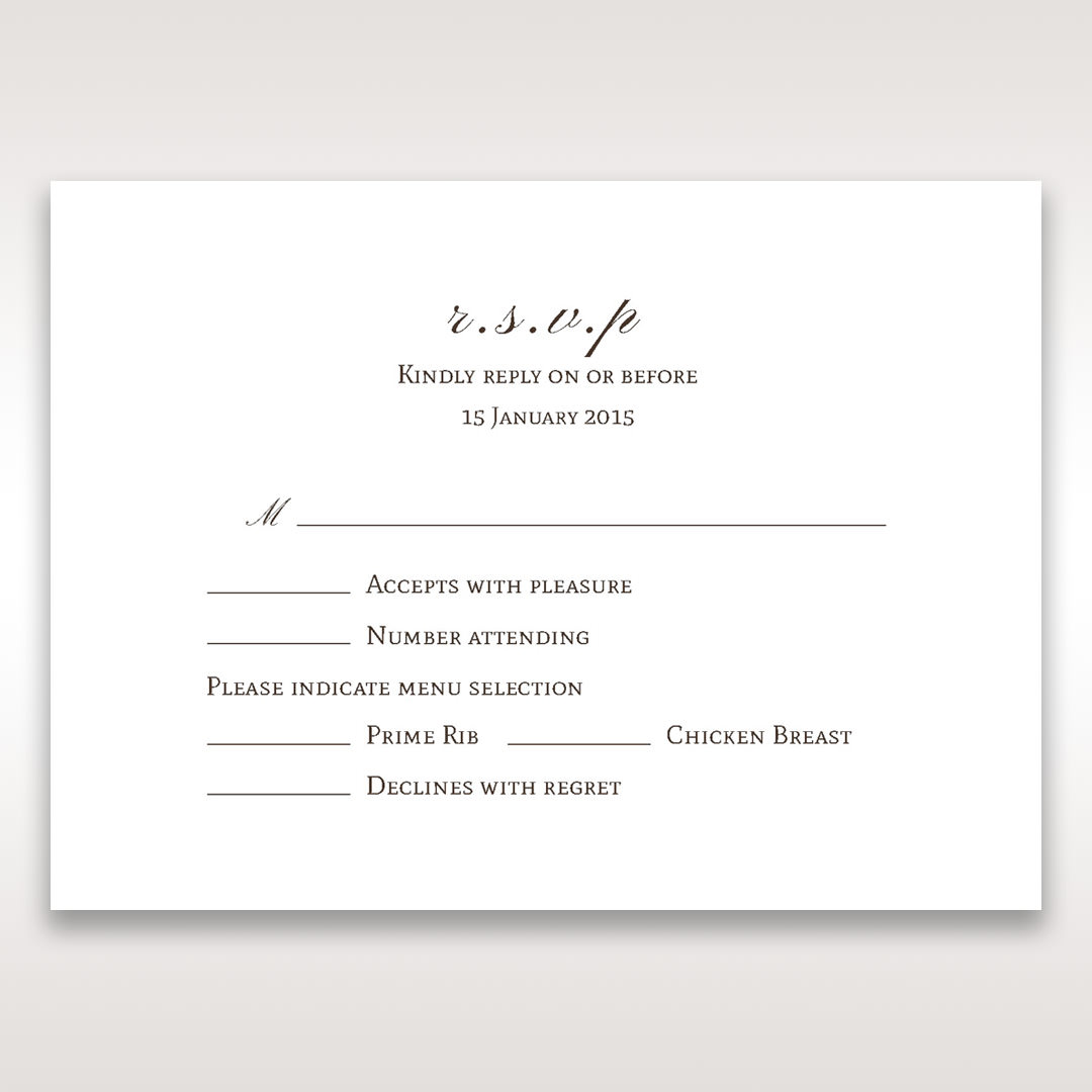 Brown Jeweled Couture in Brown - RSVP Cards - Wedding Stationery - 74