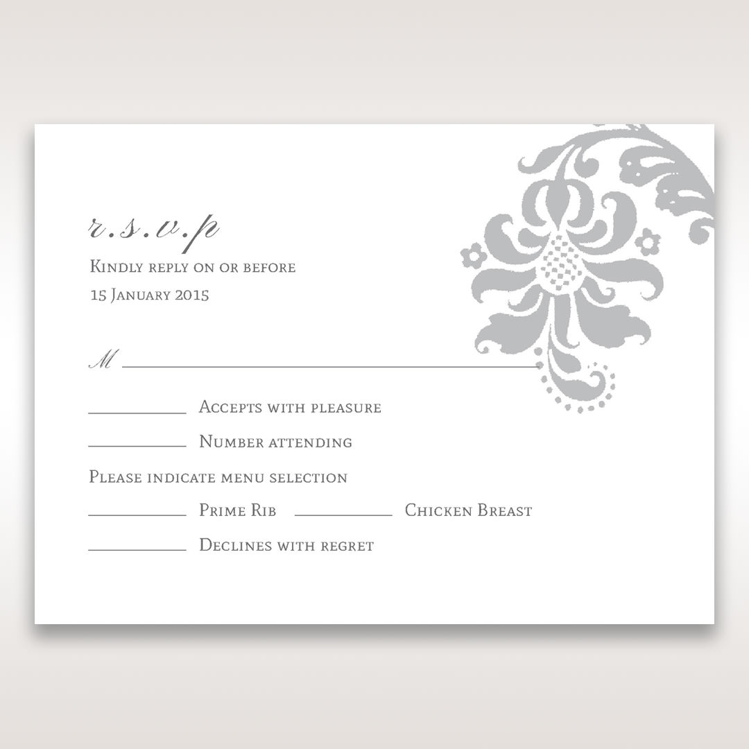Blue Handmade Jeweled Floral - RSVP Cards - Wedding Stationery - 75