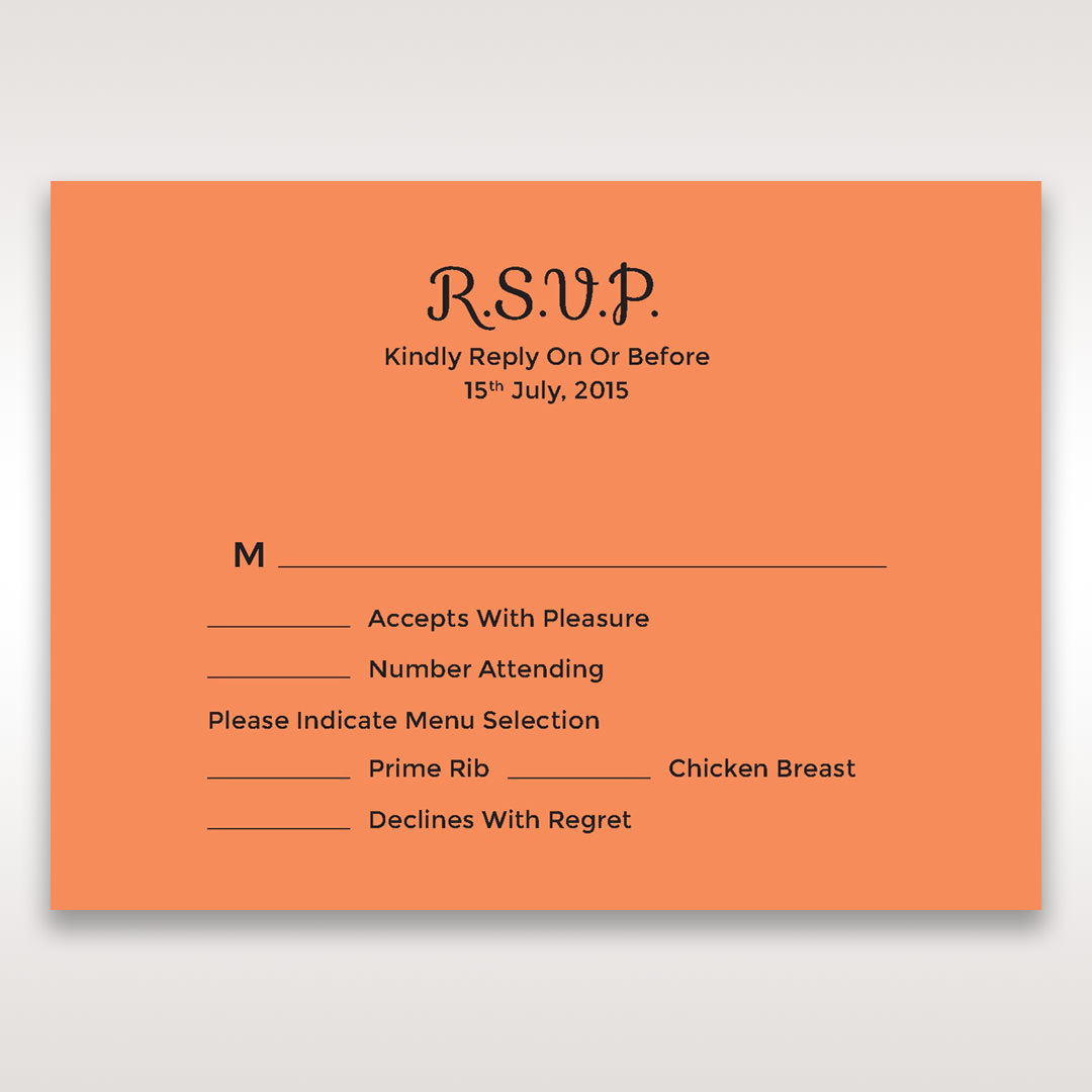 Orange Laser Peacock Laser Cut Pocket With Foil - RSVP Cards - Wedding Stationery - 97