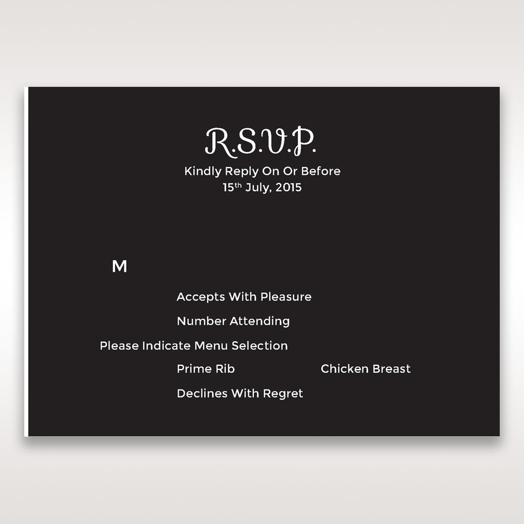 Black Laser Peacock Laser Cut Pocket With Foil - RSVP Cards - Wedding Stationery - 45