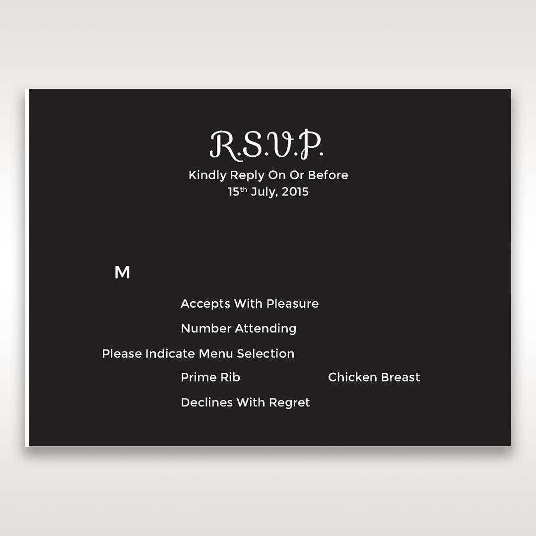 Black Laser Peacock Laser Cut Pocket With Foil - RSVP Cards - Wedding Stationery - 45
