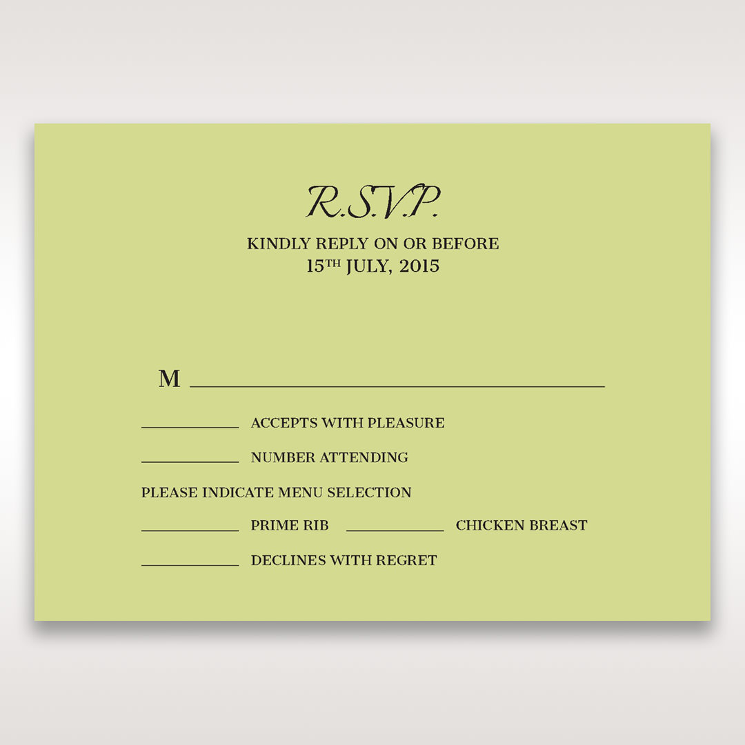 Green Laser Contempo Laser Cut Pocket - RSVP Cards - Wedding Stationery - 7