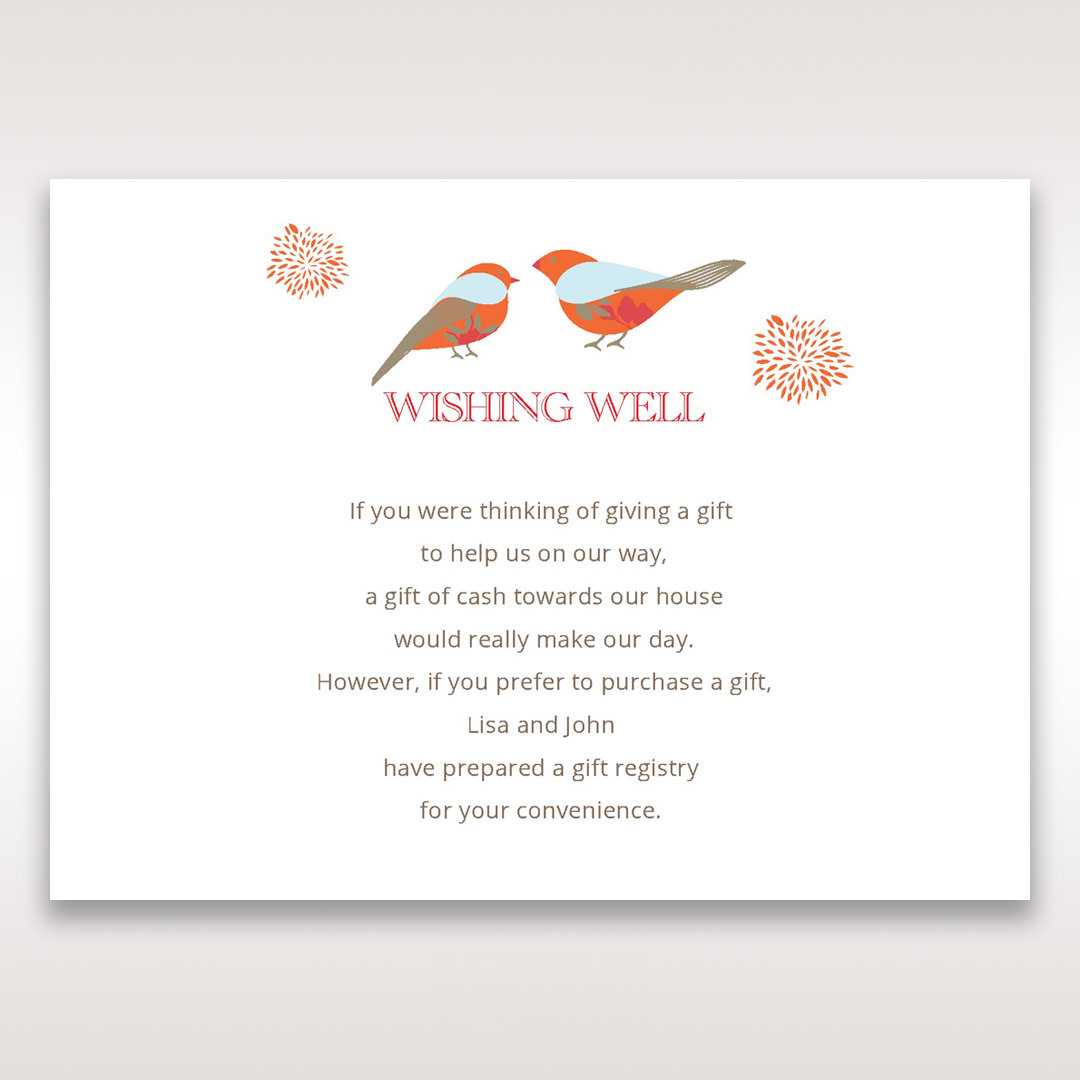 Wedding Gift Card Registry Wording : Wedding Gift Registry Wording charming love birds gift registry card ...
