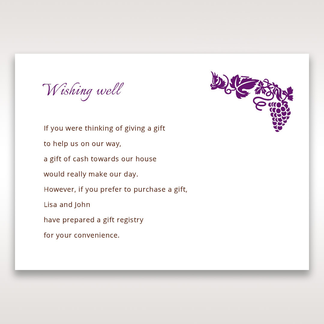 Purple Royal Purple Winery - Wishing Well / Gift Registry - Wedding Stationery - 82
