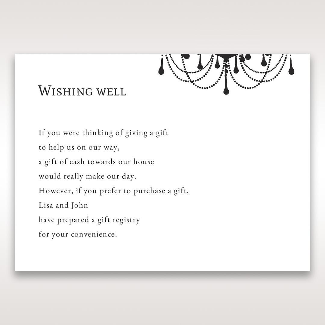 Black Black, White Chandelier - Wishing Well / Gift Registry - Wedding Stationery - 52