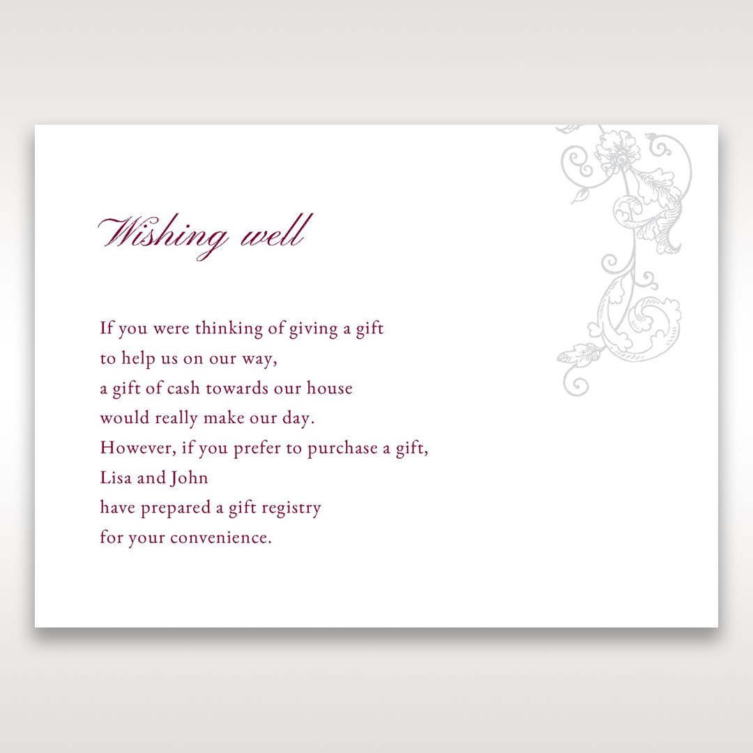 Pink Embossed Romantic Couture, Pink - Wishing Well / Gift Registry - Wedding Stationery - 41