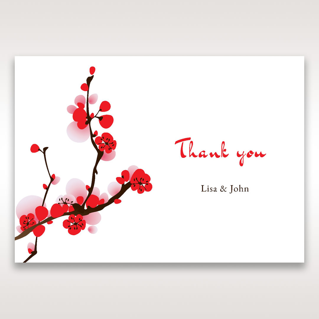 Red Plum Blossoms - Thank You Cards - Wedding Stationery - 66