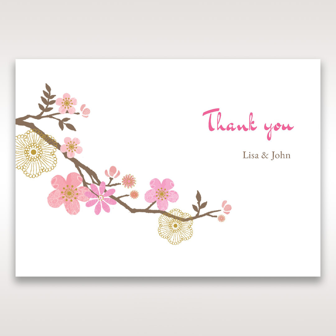 Pink Warm & Mellow Spring - Thank You Cards - Wedding Stationery - 63