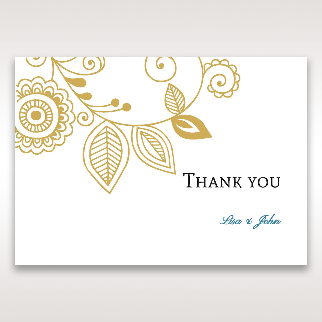Yellow/Gold Splendid Golden Swirls - Thank You Cards - Wedding Stationery - 13
