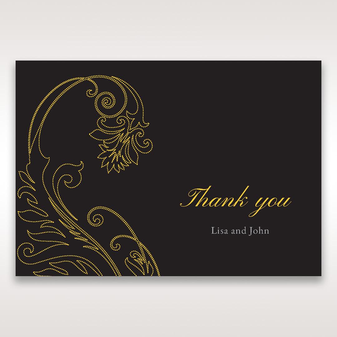 Black Urban Chic with Gold Swirls - Thank You Cards - Wedding Stationery - 78