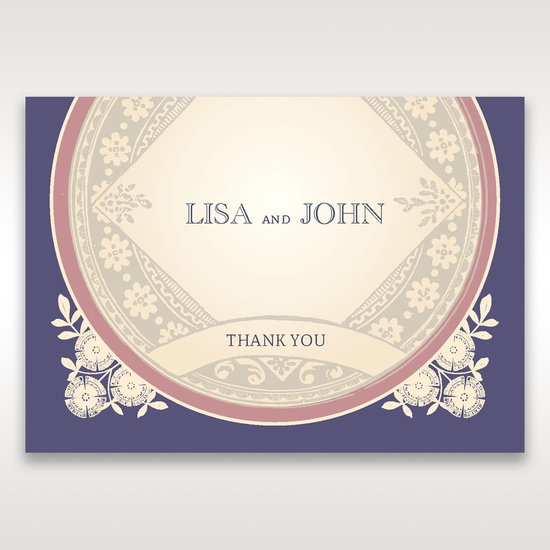 Purple Around the Globe with Love - Thank You Cards - Wedding Stationery - 54