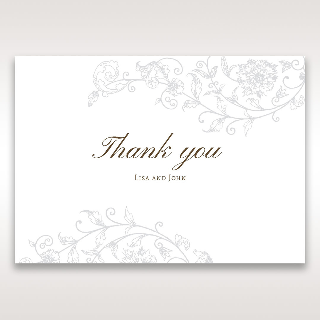 Green Romatic Couture with Pearls - Thank You Cards - Wedding Stationery - 33