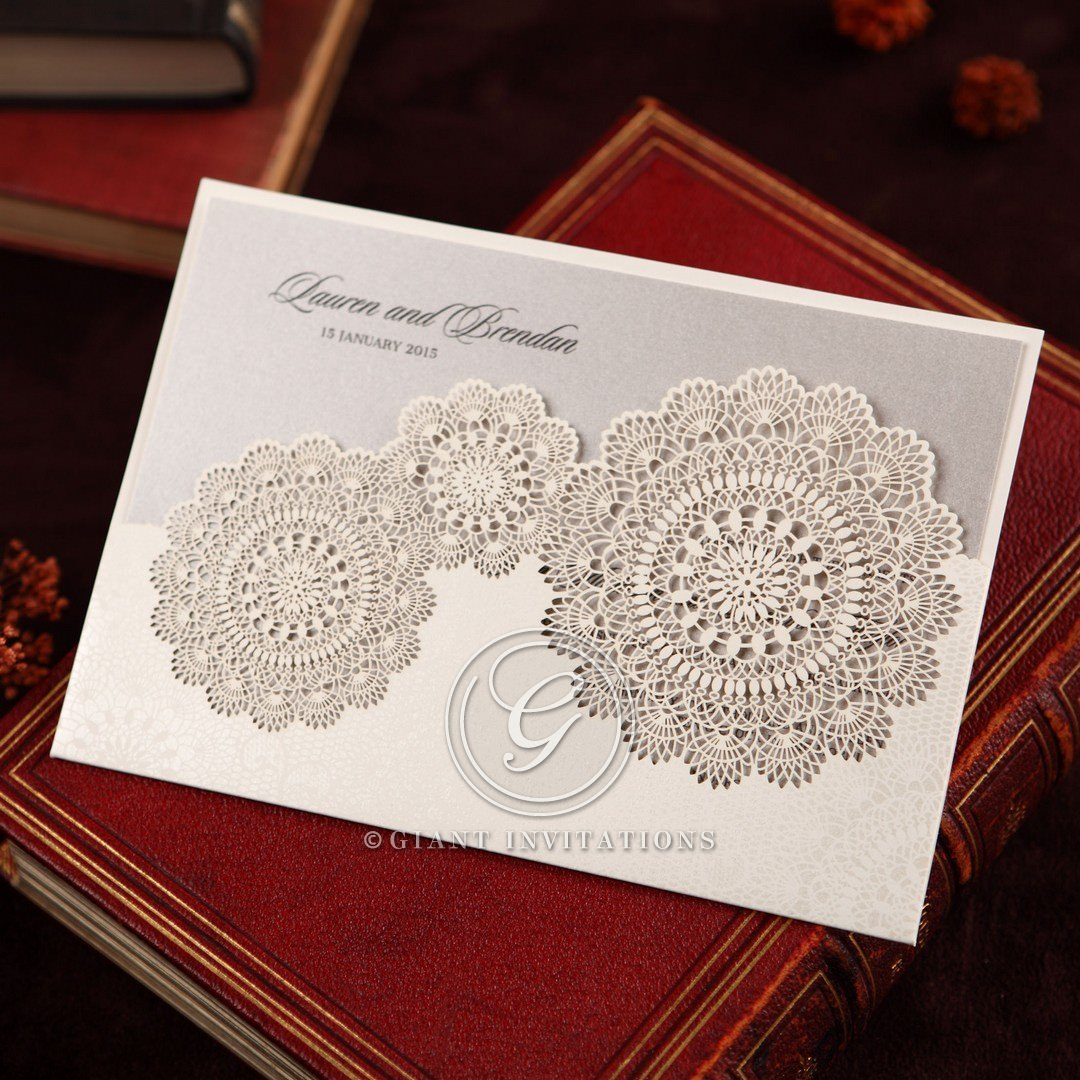 Lace Doily Style Pocket Invitation with Coloured Card