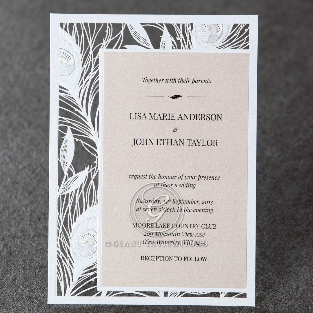 Peacock feather bordered flat invitation with pearlized card, laser cut, raised ink lettering
