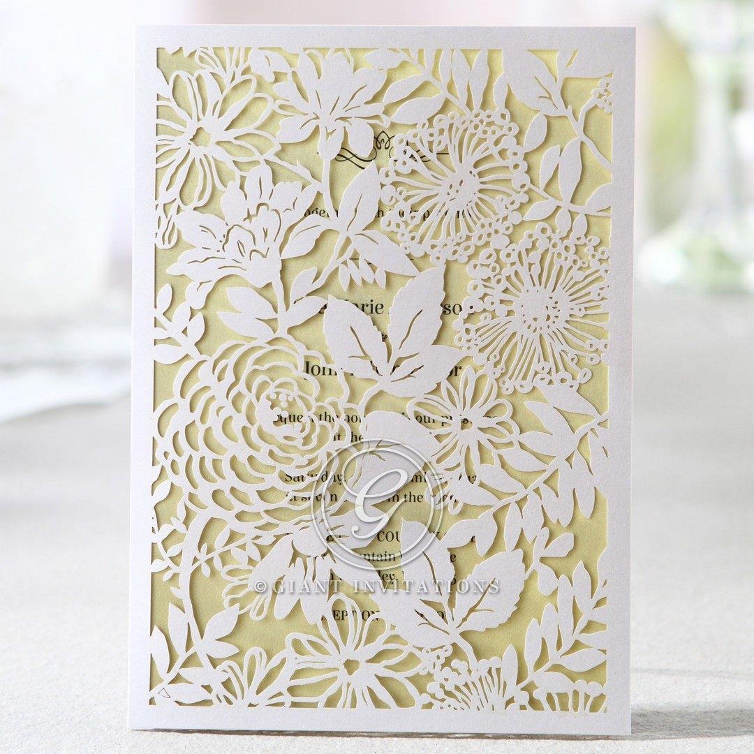 Rectangular white laser cut garden inspired wedding invitation, beige inner card