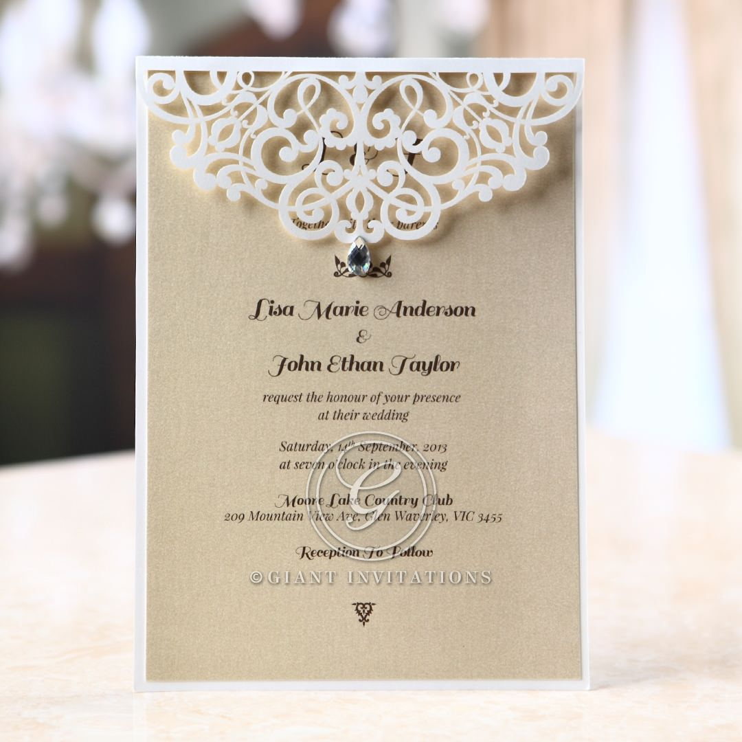Jeweled Laser Cut Modern Wedding Invitations