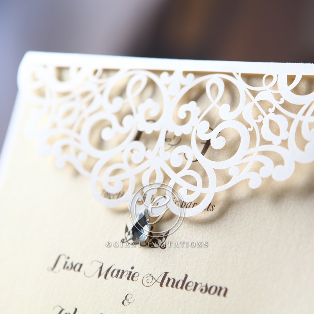 Jeweled wedding invitation laser cut detail