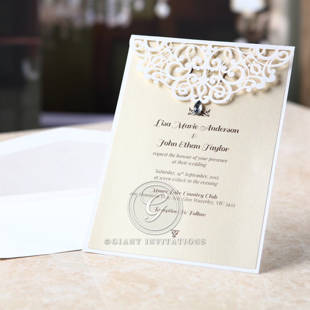 Jeweled laser cut wedding invitation with envelope