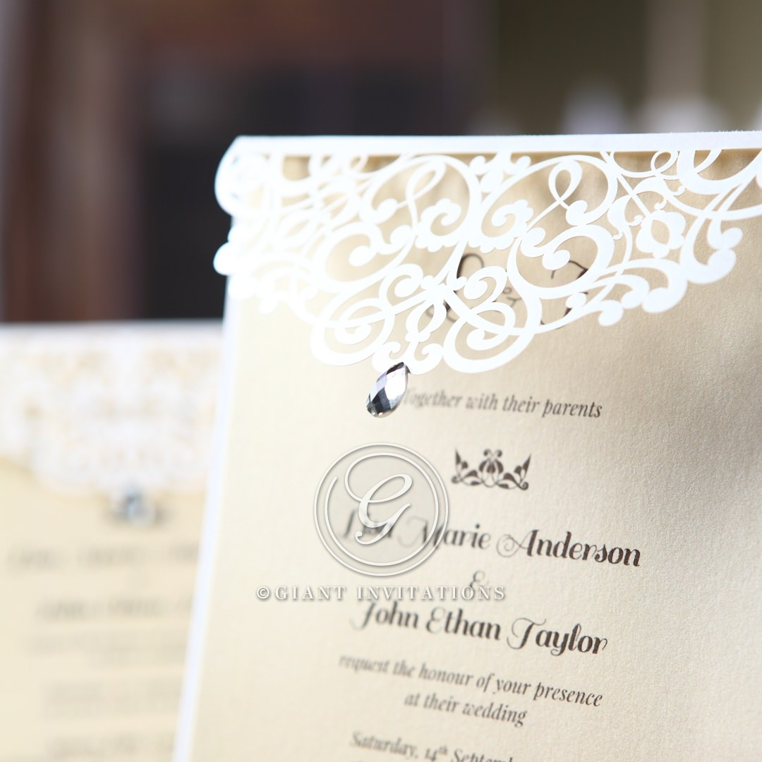 Jeweled laser cut wedding invitation flap