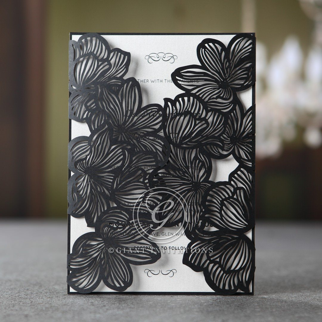Stylish Floral Ebony Laser Cut Pocket Classic And Modern
