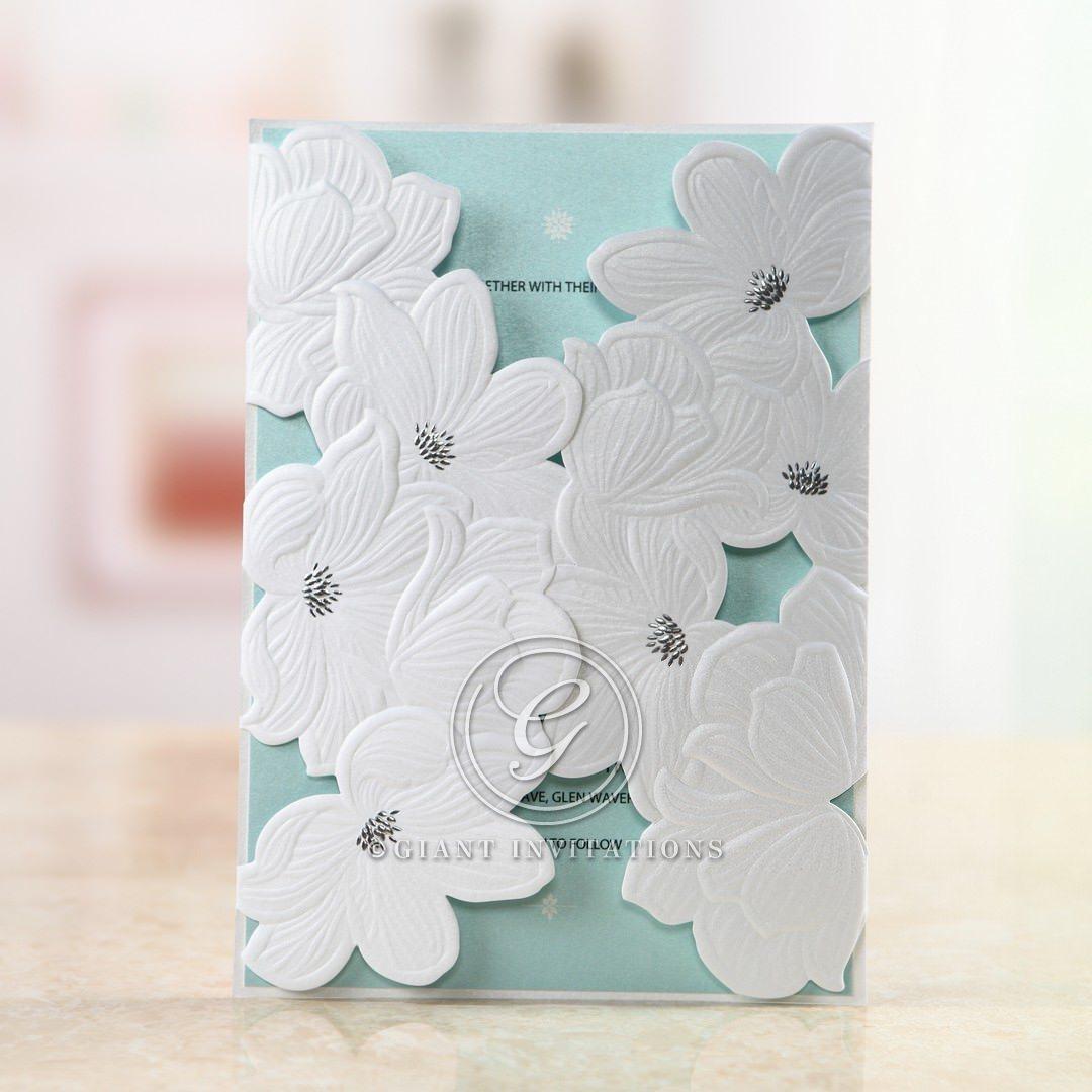 Blue Laser Cut Flower Wrap - Wedding invitation - 48