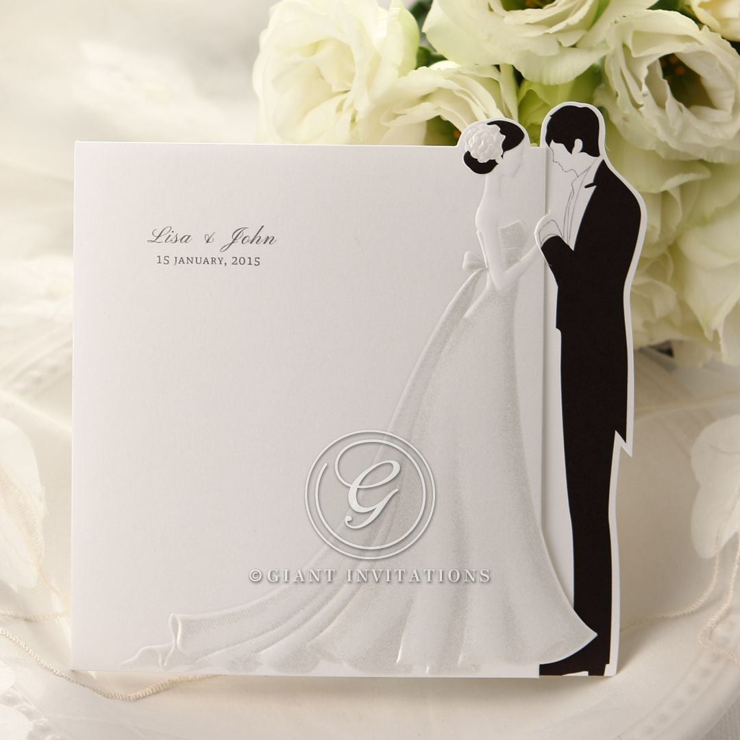 Black and white trifold wedding invitation; bride and groom embossed design