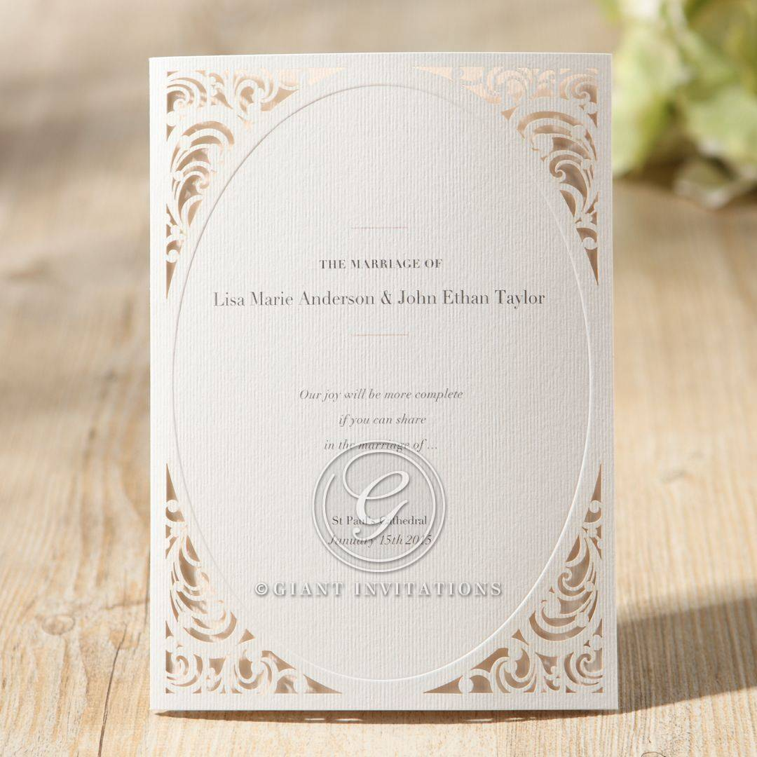 White frame style invitation with black raised ink lettering and oval window