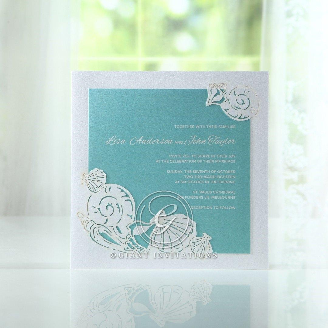 Green Ocean Frame I Laser Cut - Wedding invitation - 61