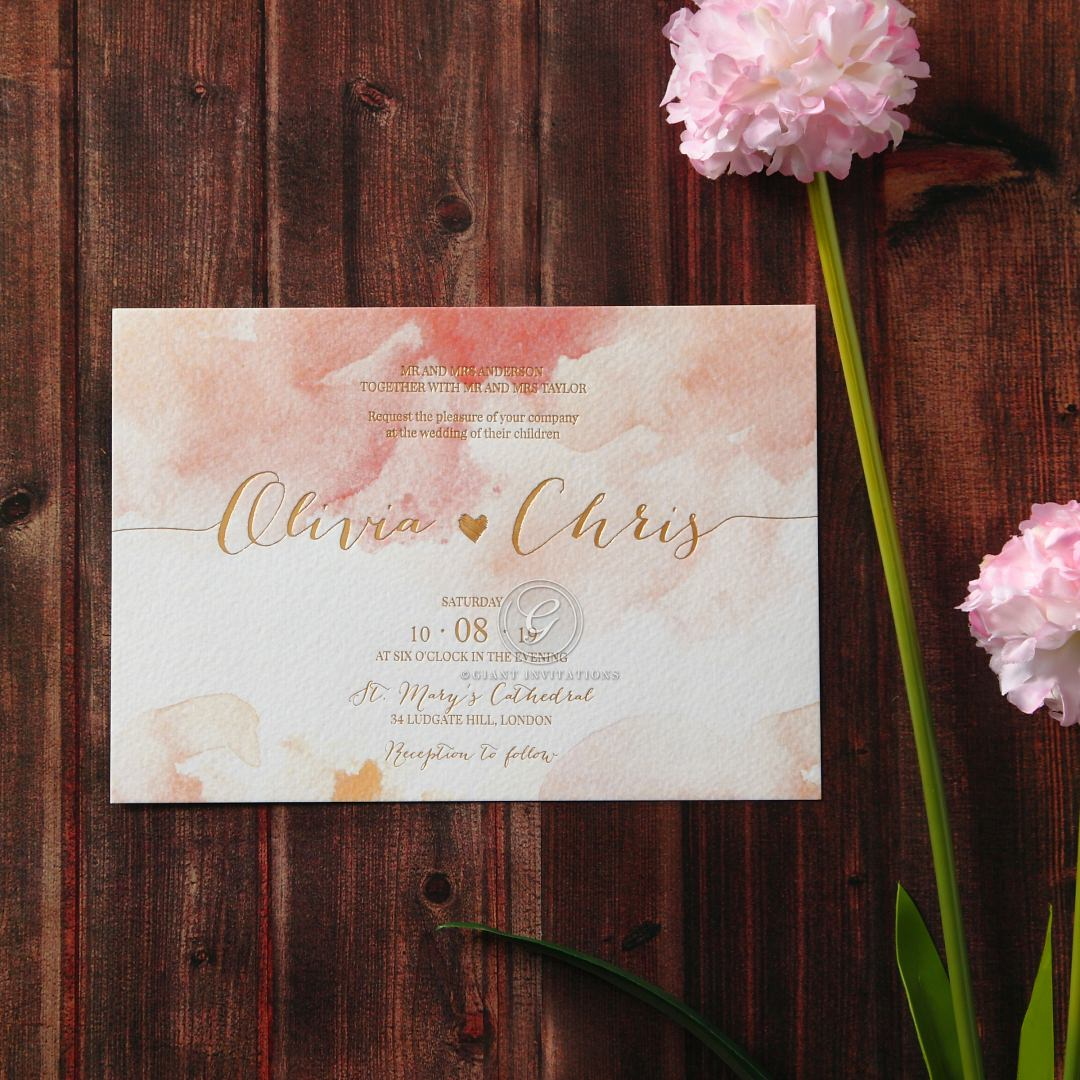 Blushing Rouge with Foil wedding invitations FWI116124-TR-MG