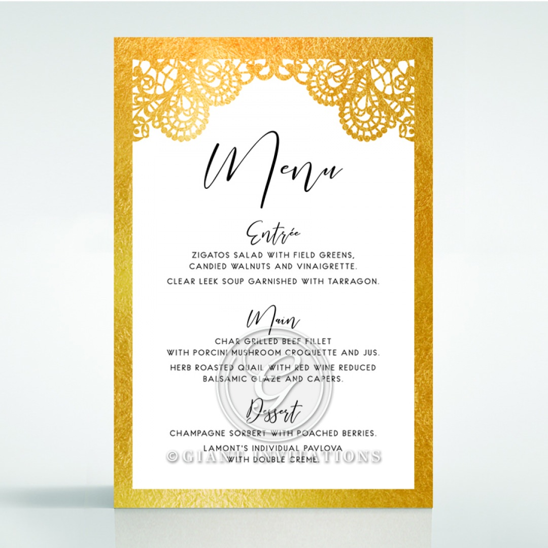 Breathtaking Baroque Foil Laser Cut menu card DM120001-KI-GG